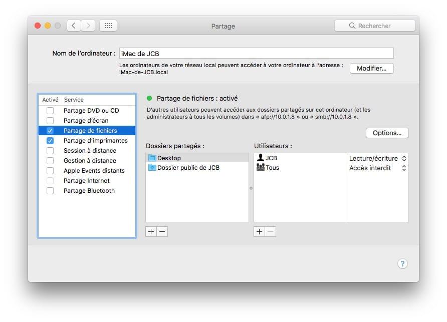 Creer un reseau entre un Mac et un PC partage de fichiers mac pc