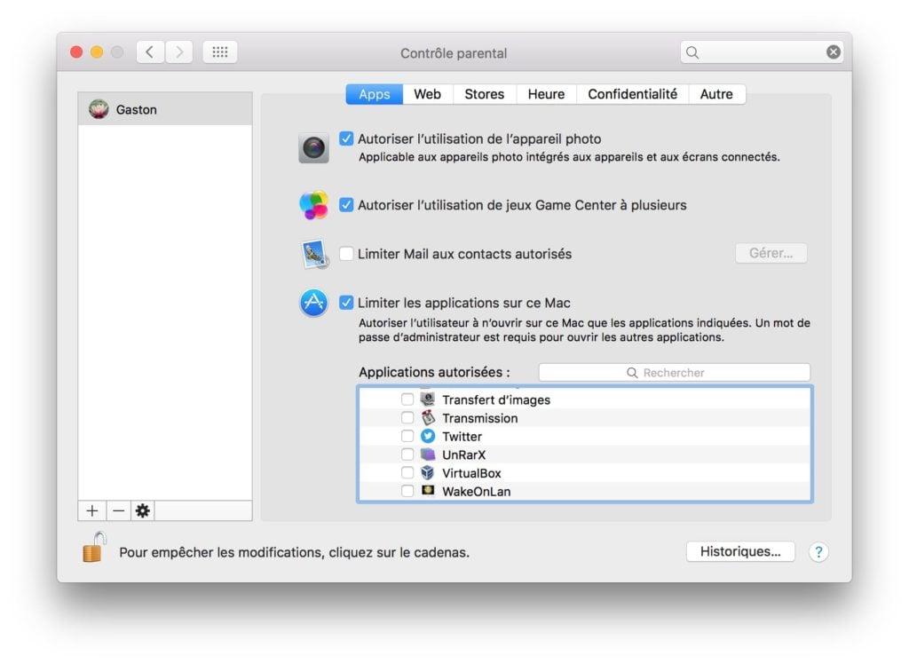 Controle parental Mac apps