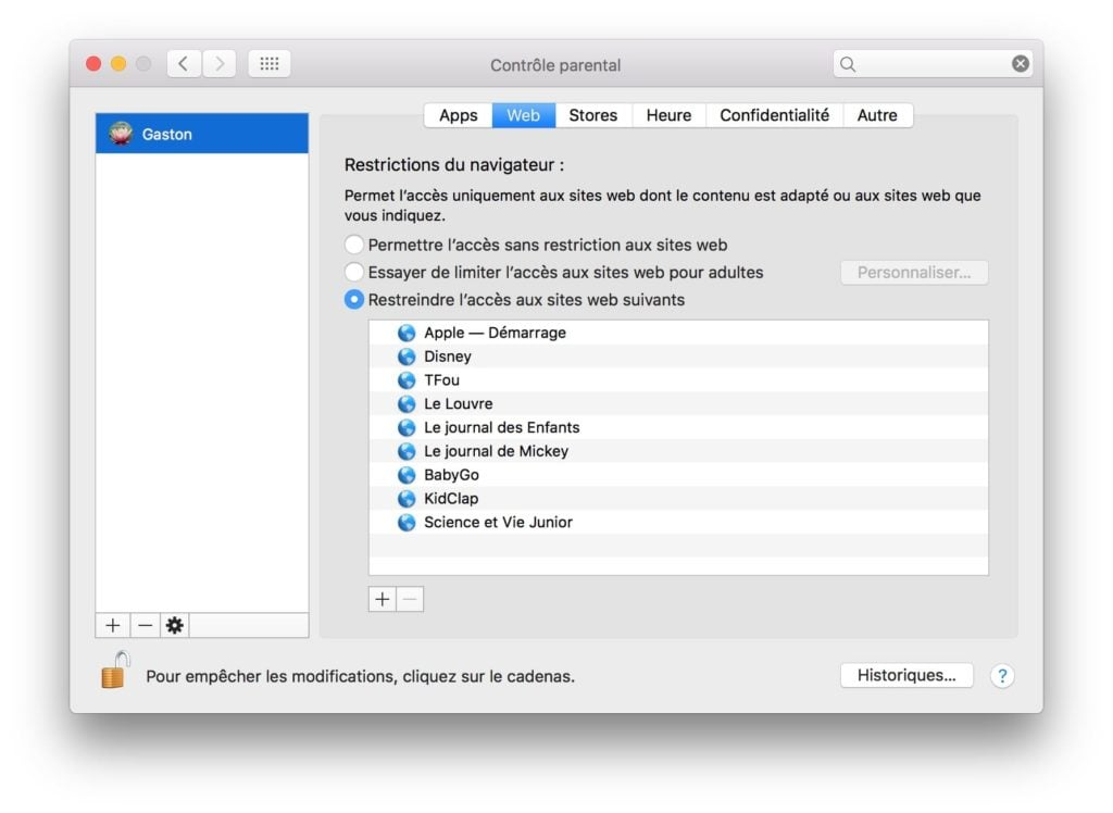 Controle parental Mac web