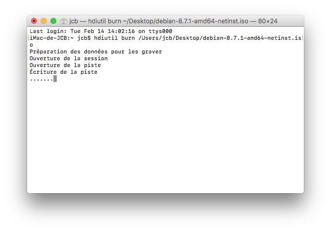 Graver un ISO sur Mac ecriture de la piste hdiutil