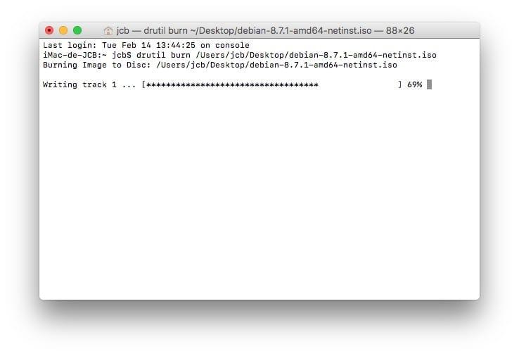Graver un ISO sur Mac os sierra drutil