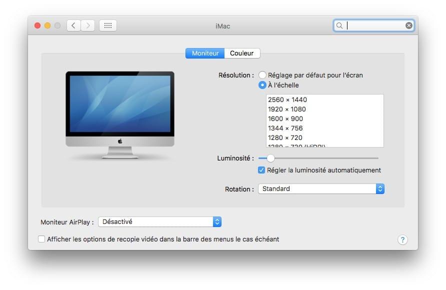 Changer la résolution d'écran de son Mac à l'échelle