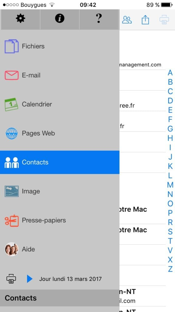 Imprimer avec un iPhone contacts photos calendrier