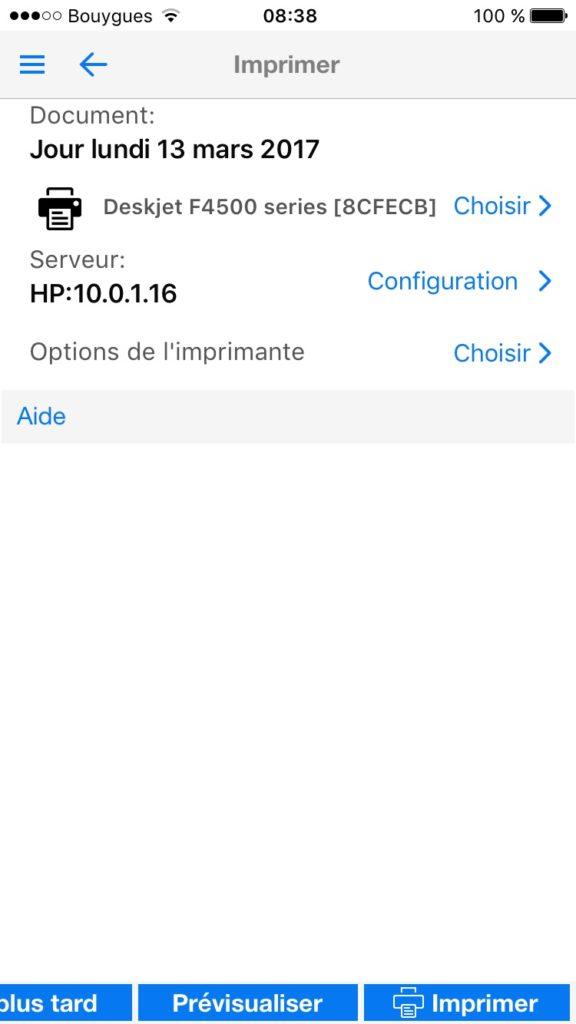 Imprimer avec un iPhone printcentral pro