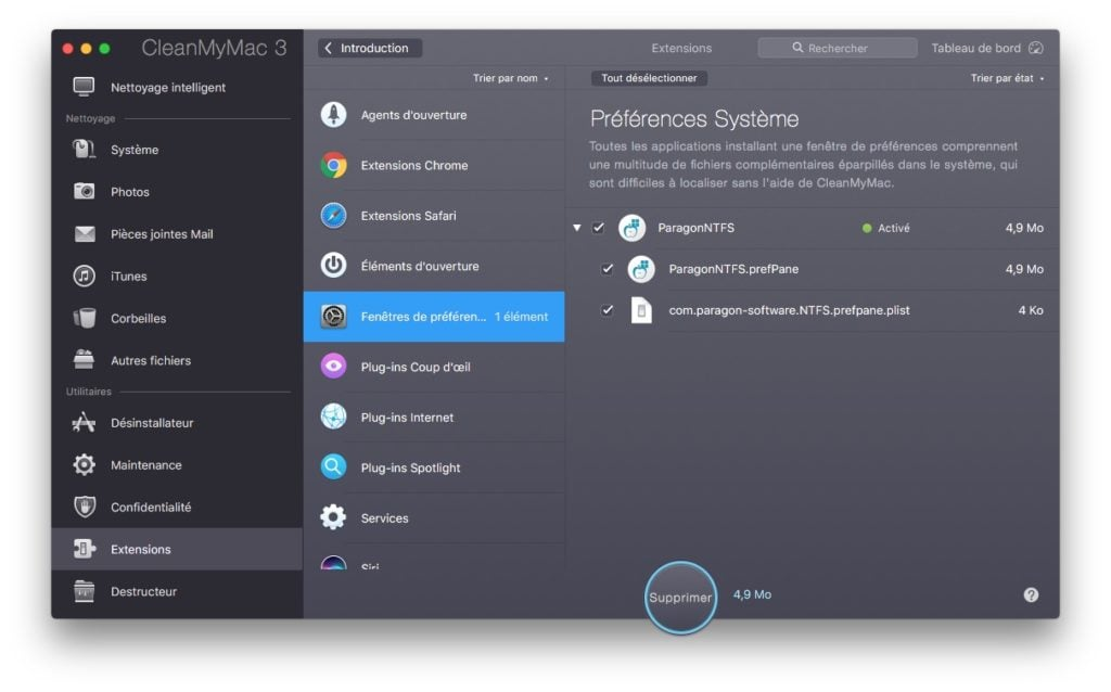 Supprimer une extension des Preferences Systeme Mac cleanmymac