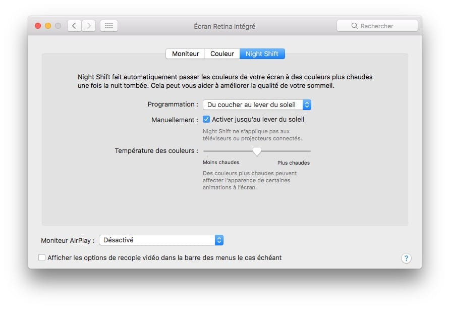 macOS Sierra 10.12.4 Night Shift onglet