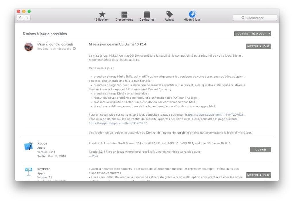 macOS sierra 10.12.4 update