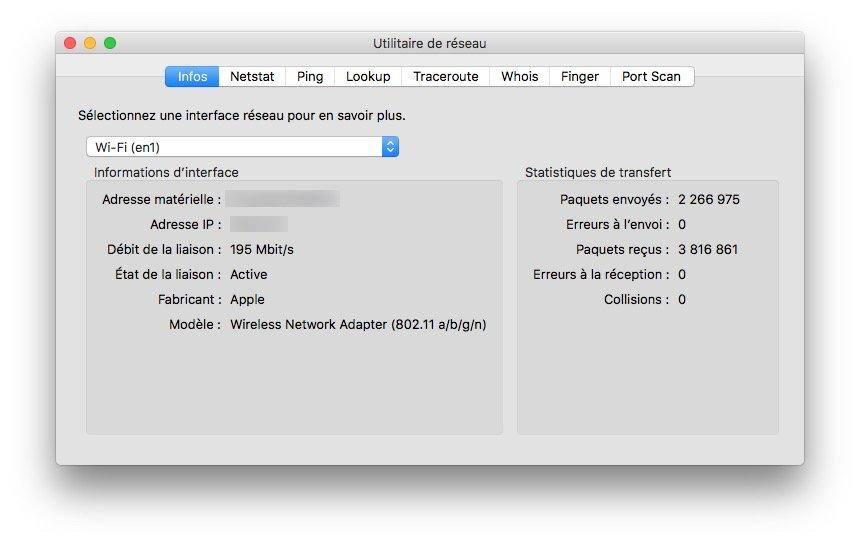 Afficher la vitesse du trafic reseau sur Mac utilitaire de reseau statistiques de transfert