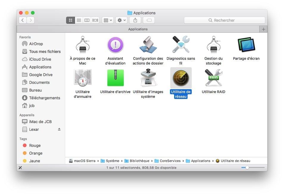 Afficher la vitesse du trafic reseau sur Mac utilitaire de reseau