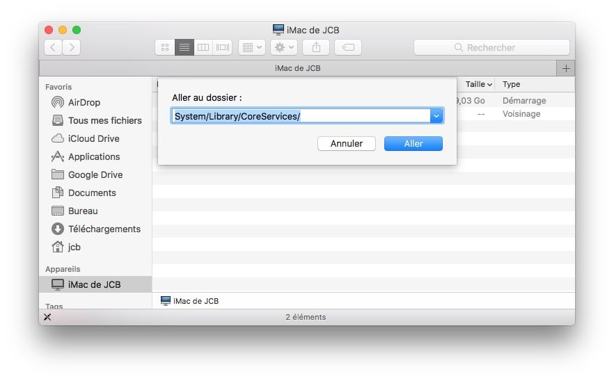 Supprimer le Centre de Notifications Mac CoreServices
