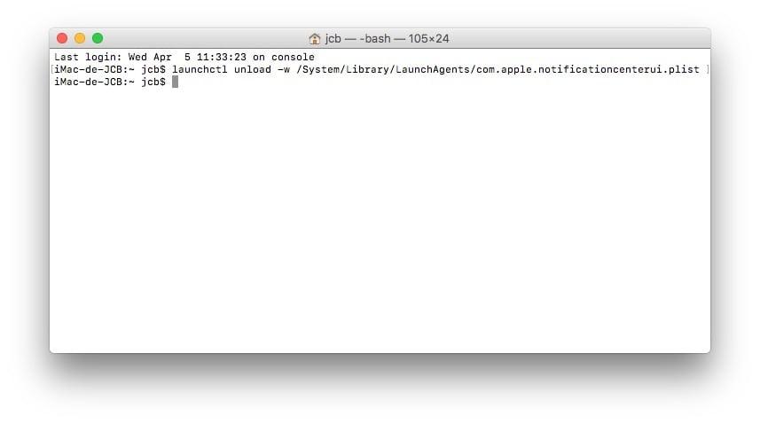Supprimer le Centre de Notifications Mac Terminal