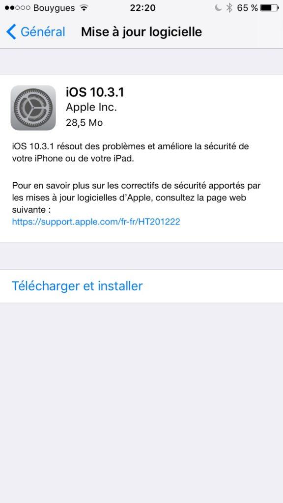 iOS 10.3.1 mise a jour logicielle ota