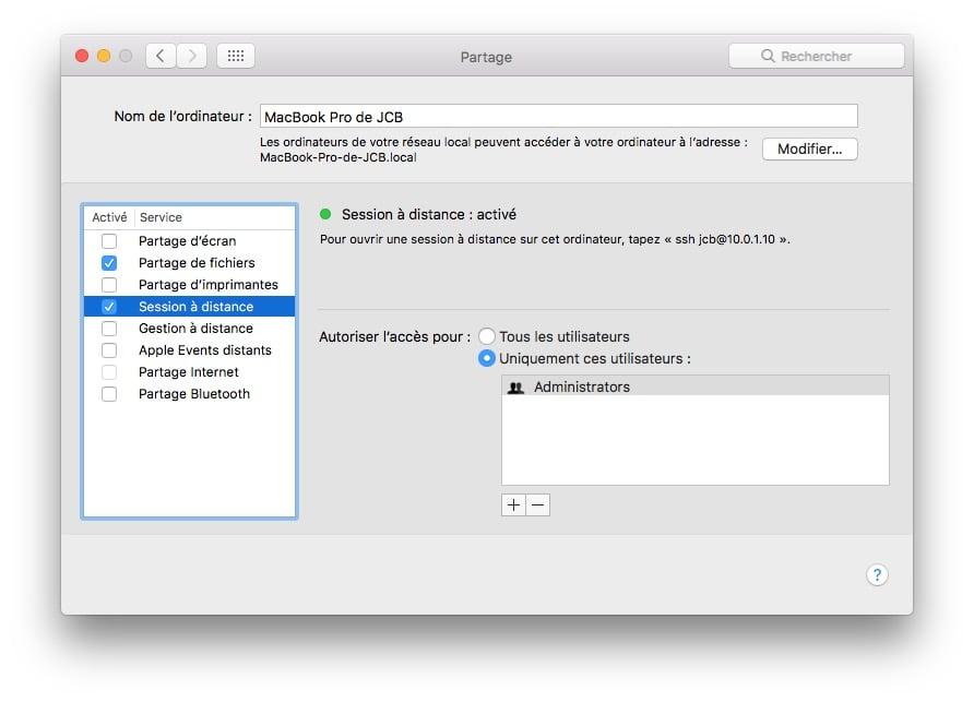 Client SSH Mac session a distance