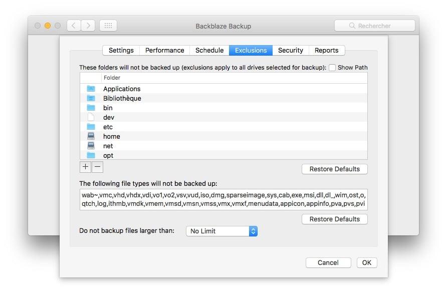 Sauvegarder son Mac dans le Cloud exclusion fichiers