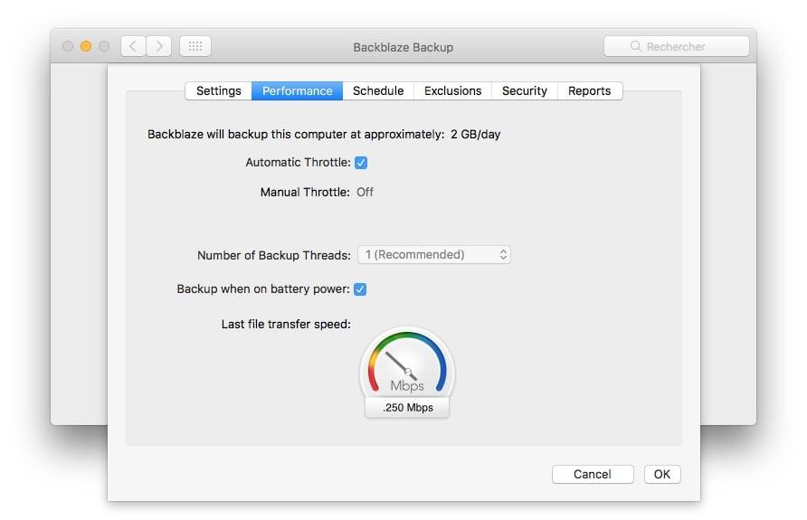 Sauvegarder son Mac dans le Cloud performance debit
