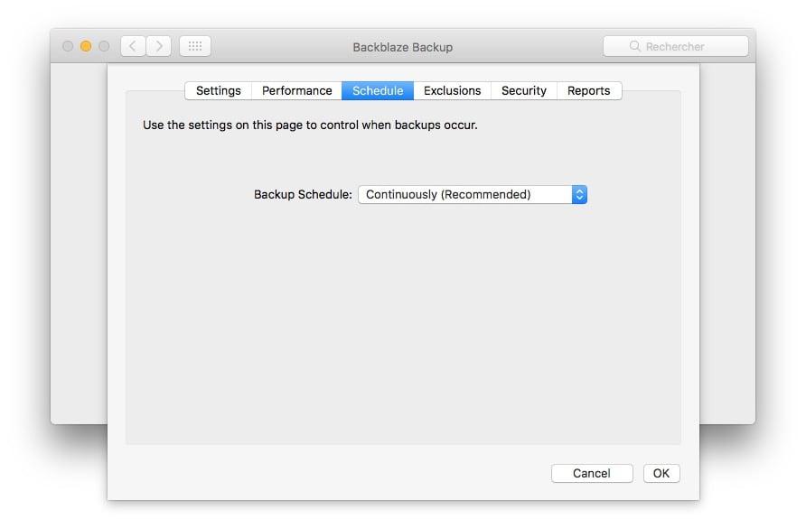 Sauvegarder son Mac dans le Cloud planificateur