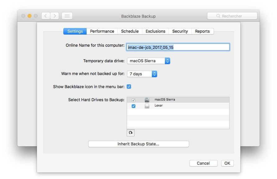 Sauvegarder son Mac dans le Cloud reglages