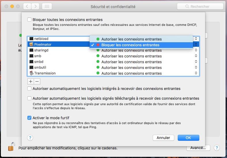 bloquer connexions entrantes mac