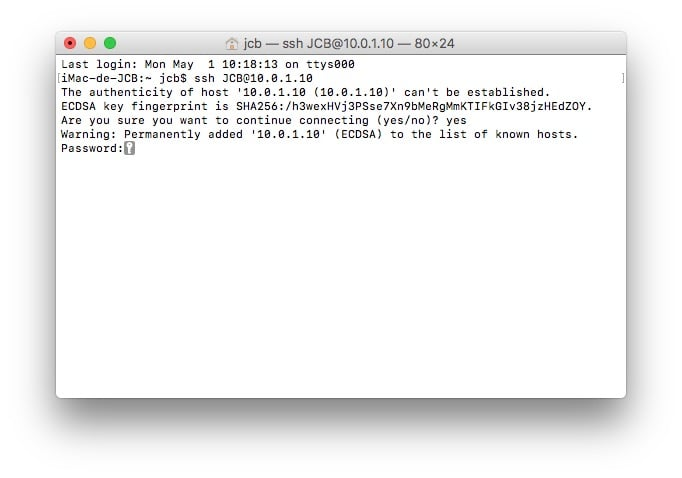 client ssh mac mot de passe admin