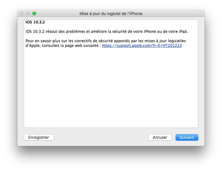 iOS 10.3.2 mise a jour iphone