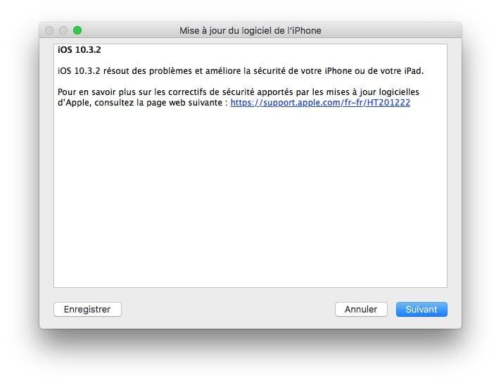 iOS 10.3.2 mise a jour iphone