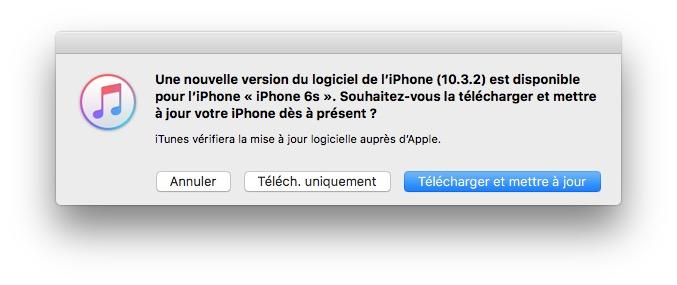 iOS 10.3.2 mise a jour par itunes 12.6.1
