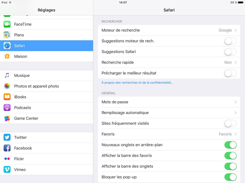 reglages safari ios mots de passe