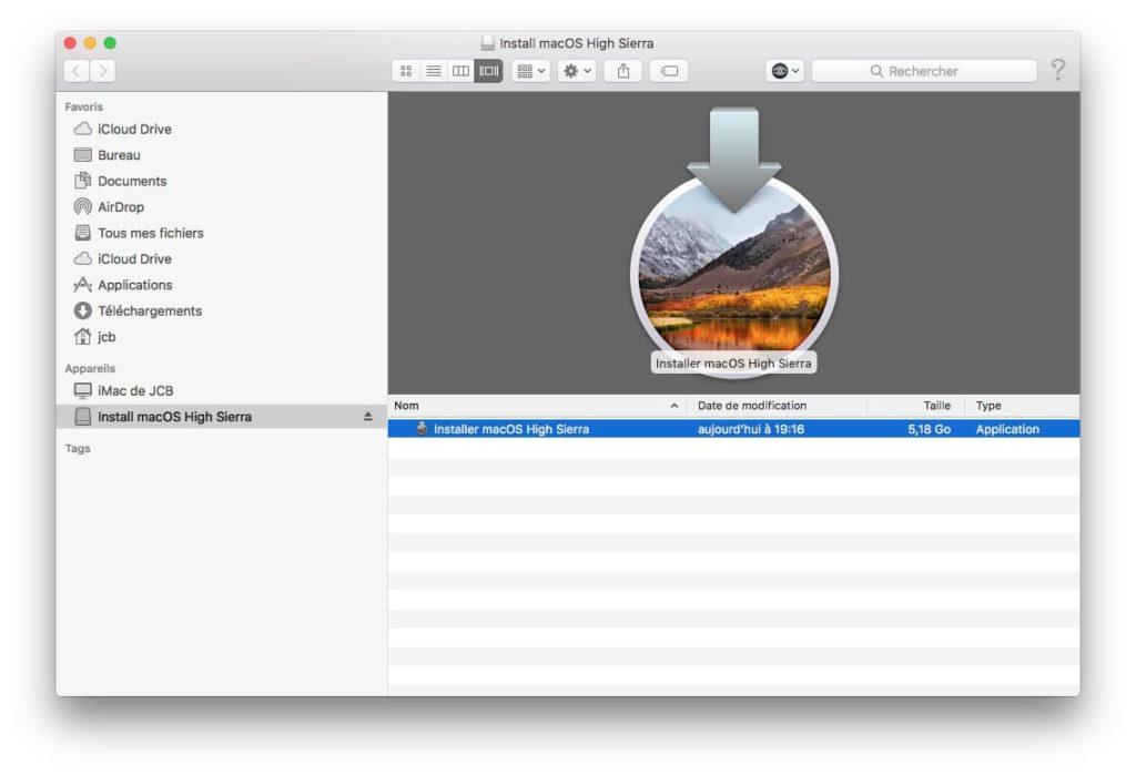 Creer une cle USB bootable de macOS High Sierra complet