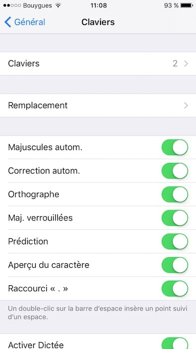 Desactiver la correction automatique sur iPhone menu clavier