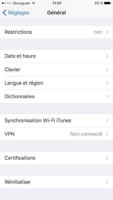 Desactiver la correction automatique sur iPhone menu general