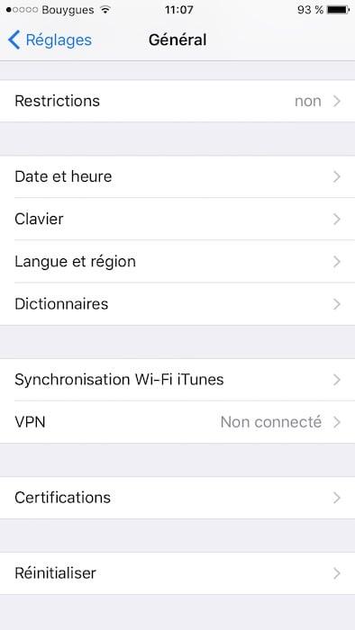 Desactiver la correction automatique sur iPhone menu general