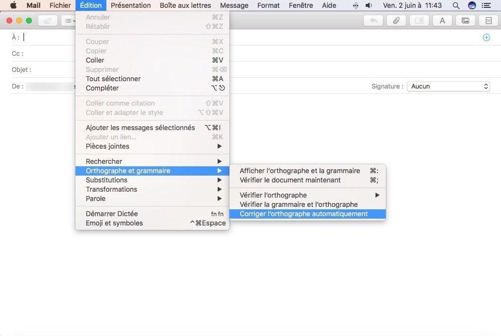 Desactiver la correction automatique sur une app Mac