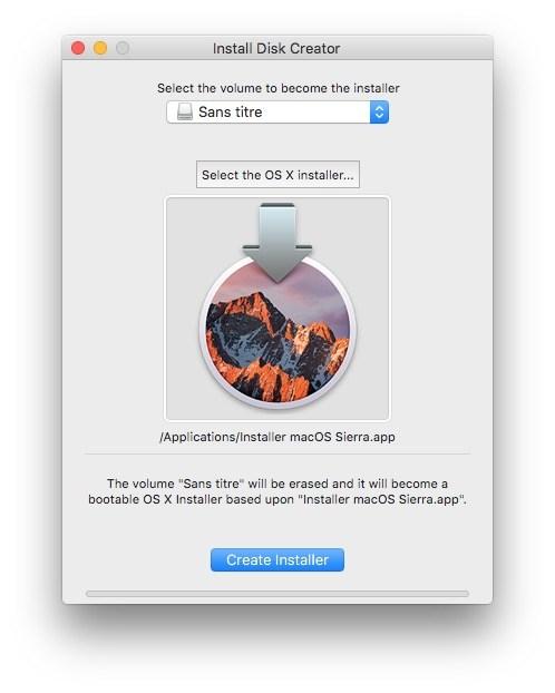 Downgrade macOS High Sierra cle usb en cours