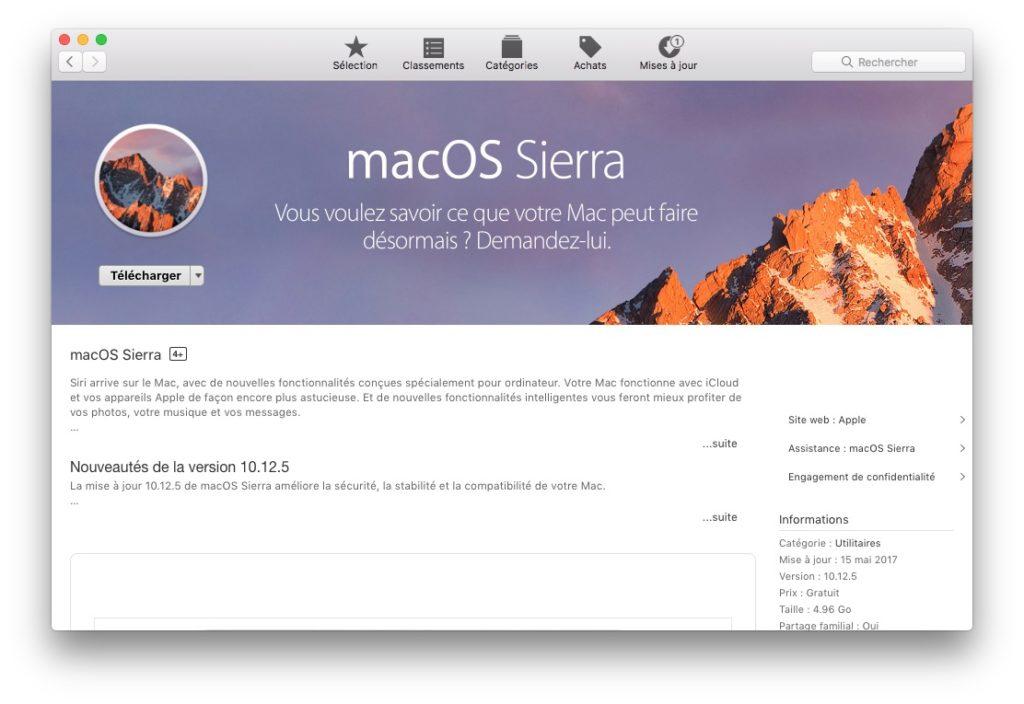 Downgrade macOS High Sierra telecharger sierra