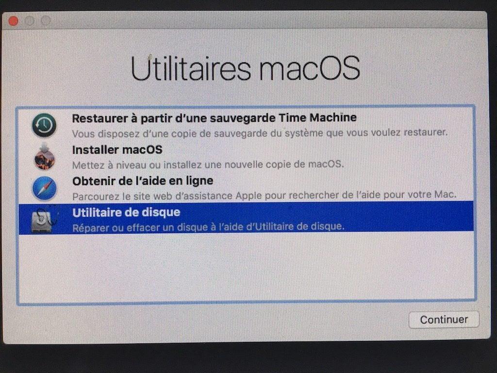 Downgrade macOS High Sierra utilitaires macos