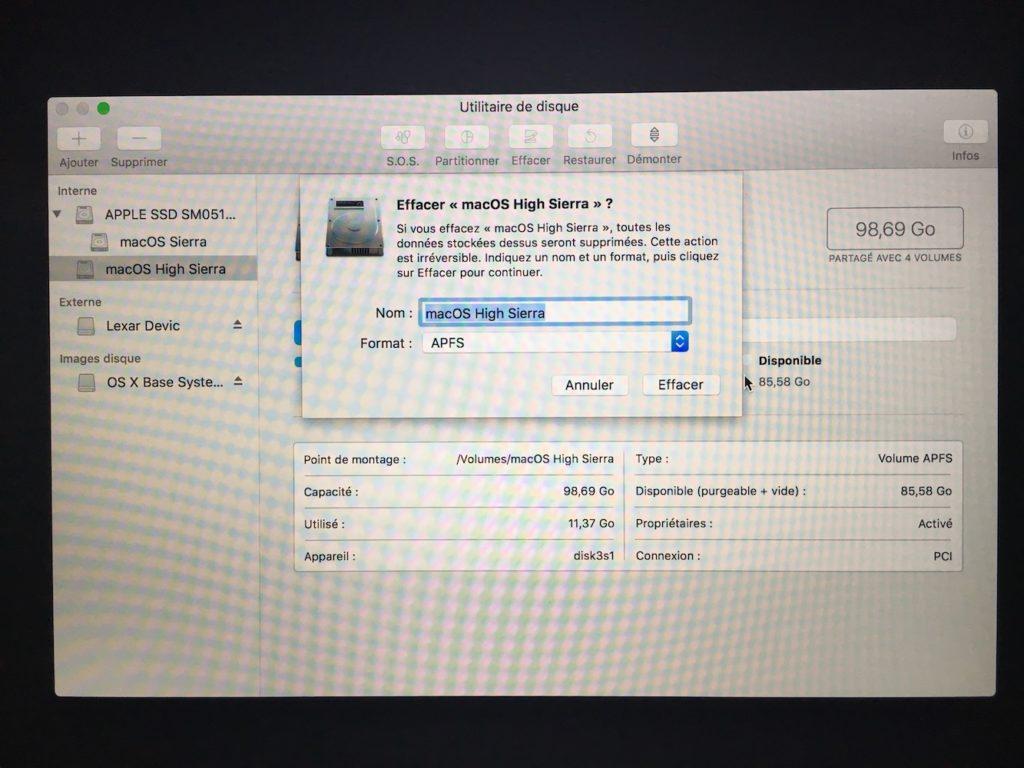 Formater sous macOS High Sierra en apfs