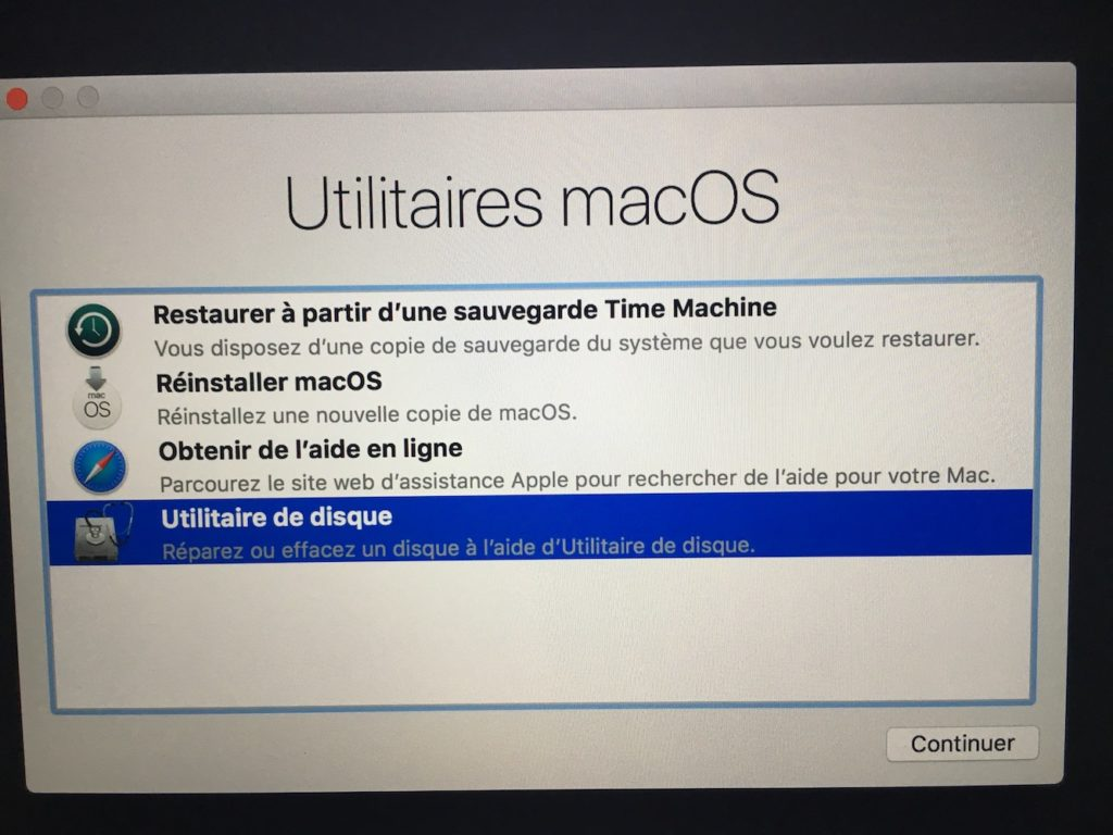 Formater sous macOS High Sierra utilitaire de disque