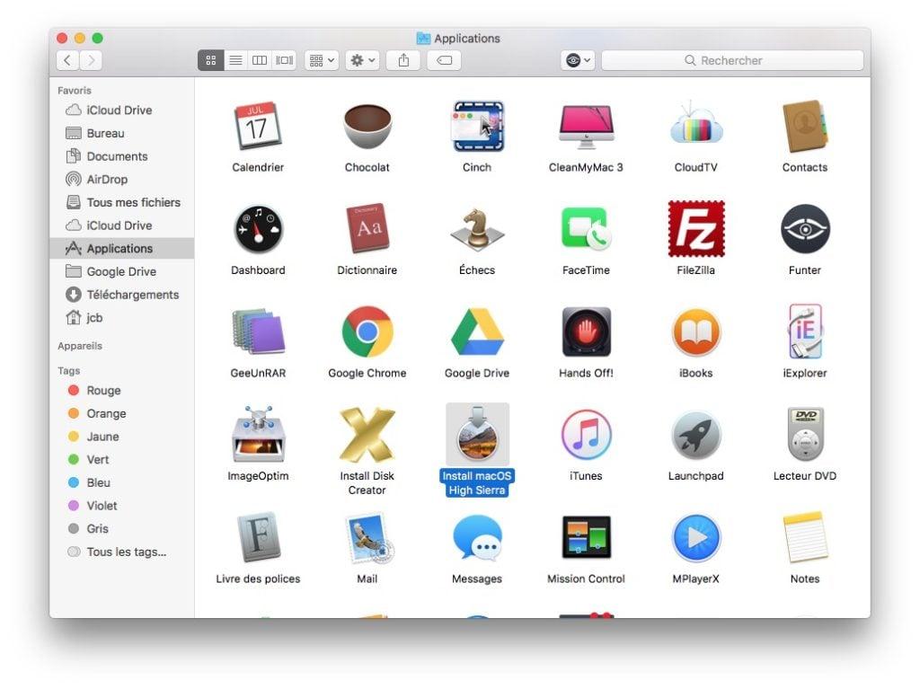 Installation propre macOS High Sierra telecharger logiciel