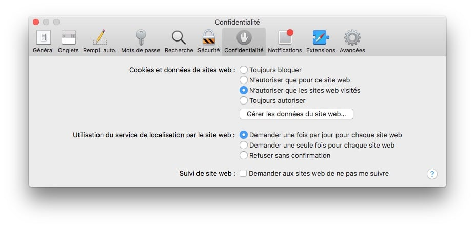 Nettoyer les cookies sur Safari Mac confidentialite