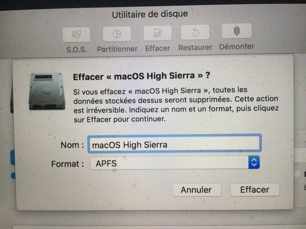 formatage apfs macos high sierra