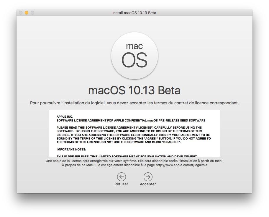 macOS 10.13 accepter termes du contrat