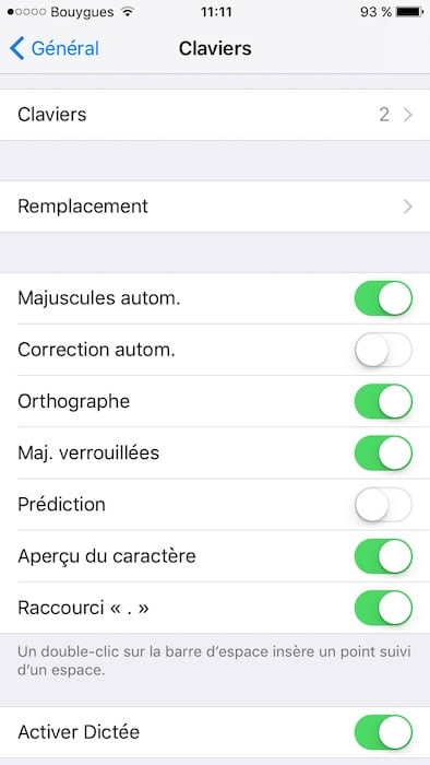 stopper correction automatique sur iphone