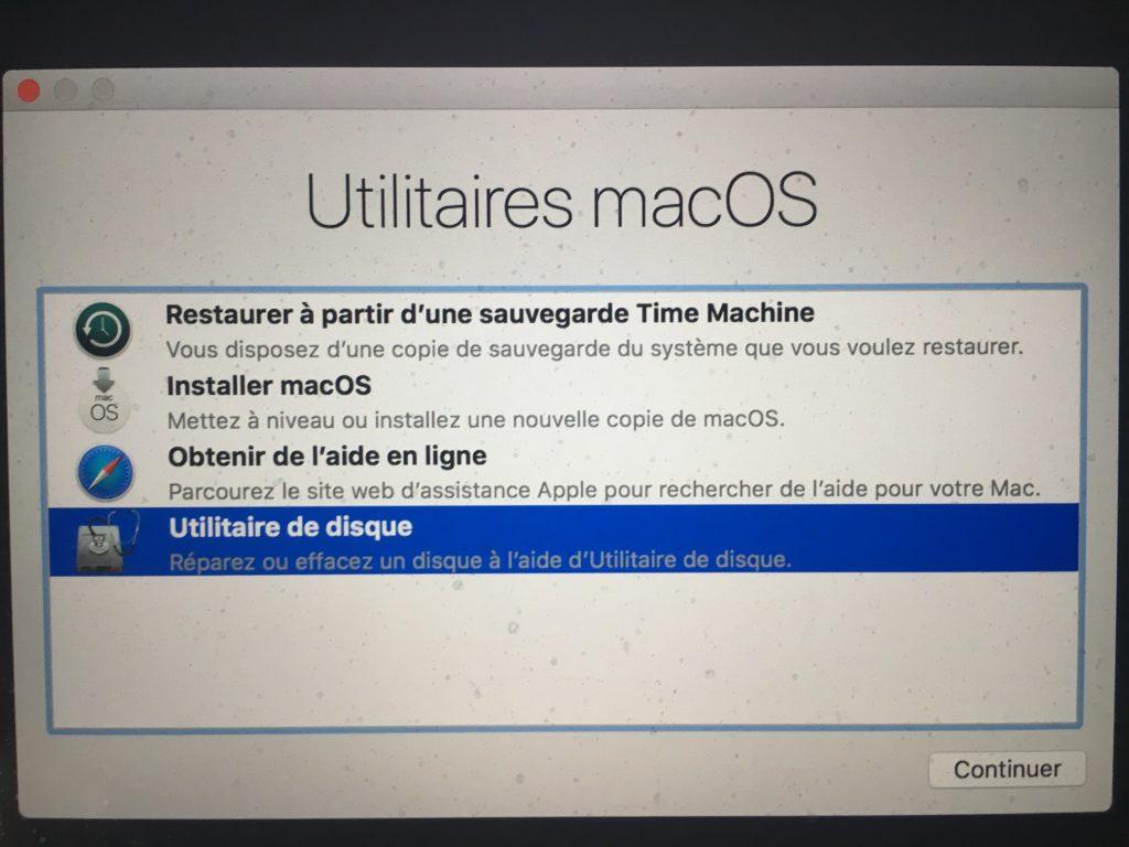 utilitaire de disque macos high sierra 10.13