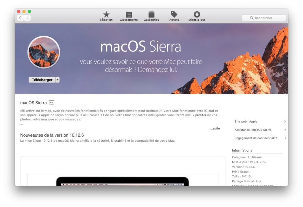 Installer une application sur Mac app store