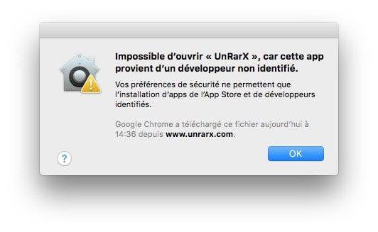 Installer une application sur Mac impossible ouvrir app developpeur non identifie