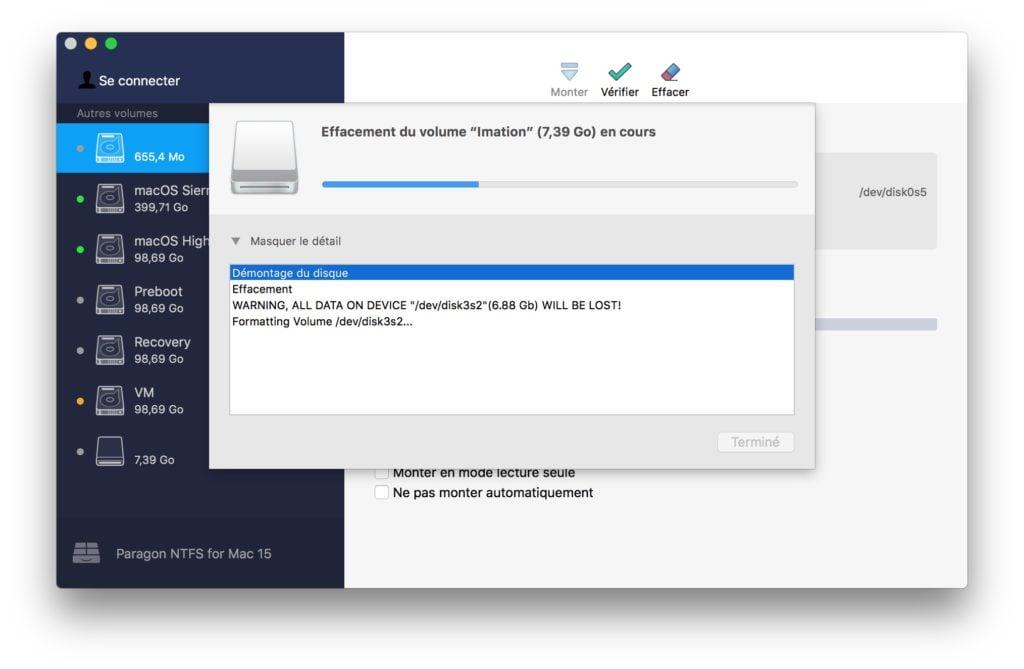 NTFS macOS High Sierra effacer volume