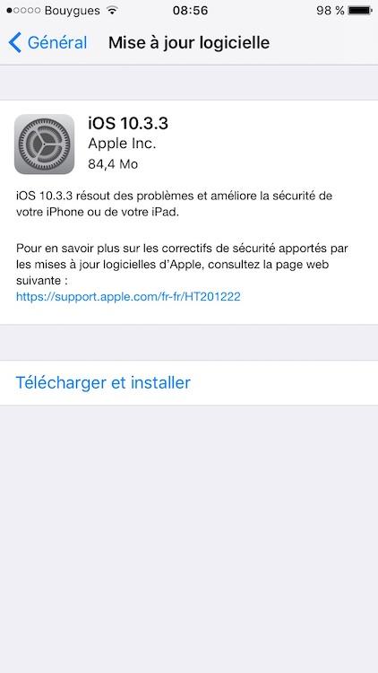 iOS 10.3.3 mise a jour logicielle