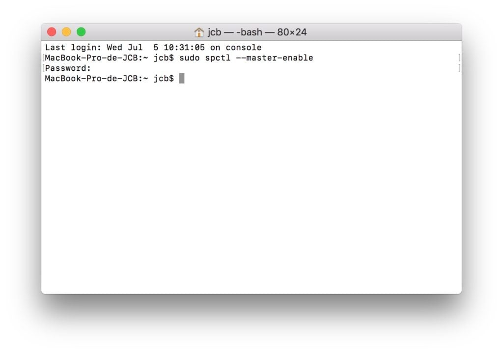 ouvrir les apps non identifiees macOS High Sierra terminal