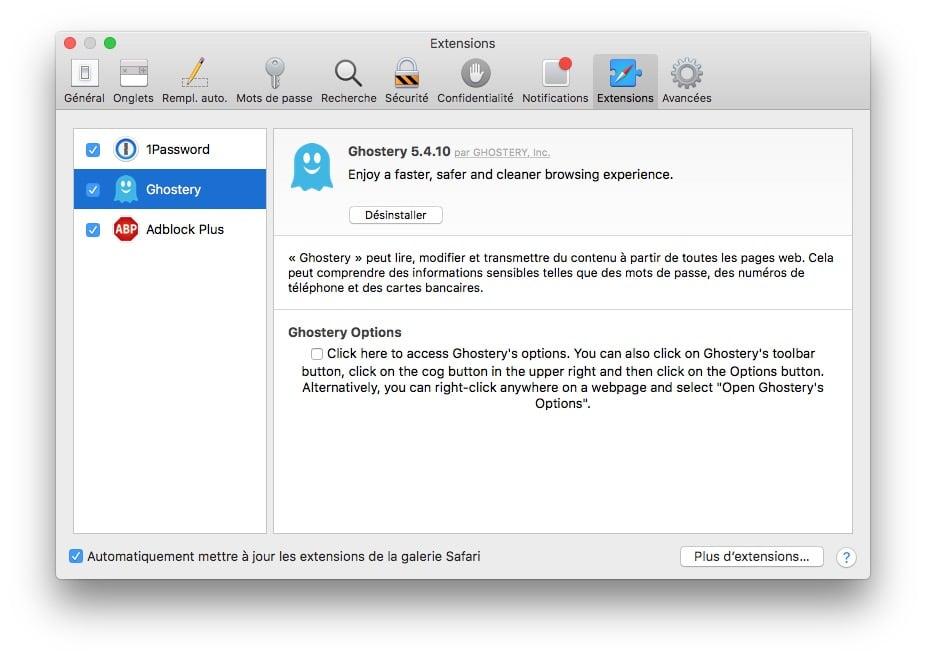 Accelerer Safari Mac desactiver extensions