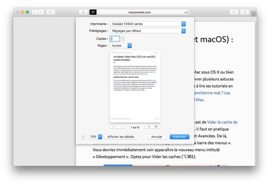 Imprimer une page web sans publicite sur safari macos